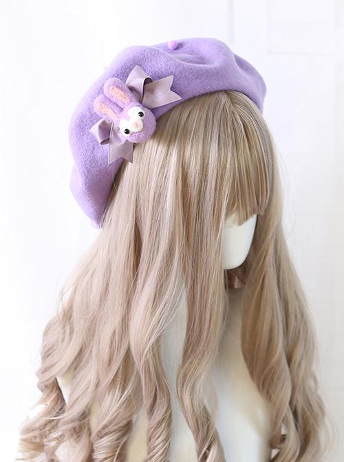Purple Rabbit Autumn Winter Woolen Cloth Beret Sweet Lolita Hat
