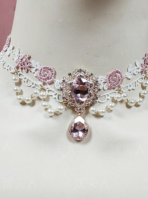 Rose Lace Pink Elegant Classic Lolita Necklace