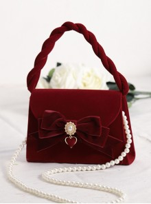 Wine Red Flocking Surface Elegant Classic Lolita Pearl Chain Hand Messenger Bag