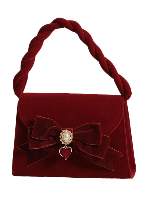 Wine Red Flocking Surface Elegant Classic Lolita Pearl Chain Hand Messenger Bag