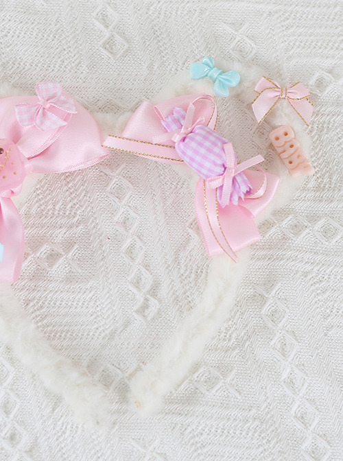 Cute Bowknot Plush Bear Ears Sweet Lolita Headwear