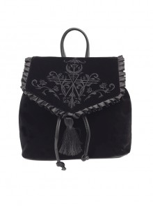 Magic Embroidery Black Velour Bag Gothic Lolita Backpack