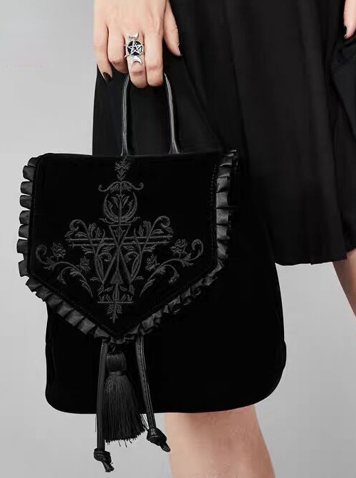 Magic Embroidery Black Velour Bag Gothic Lolita Backpack