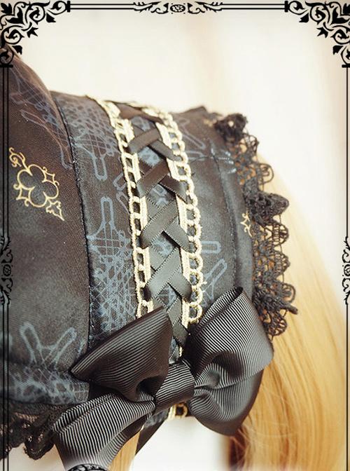 Regal Aristocrat Series Retro Gothic Lolita Black Bonnet