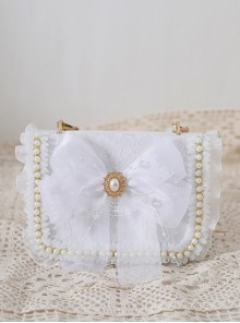 White Tulle Bowknot Elegant Pearl Handbag Metal Chain Shoulder Bag