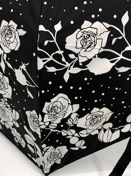 White Rose Black Umbrella Surface Gothic Lolita Silver Glue Sunshade Tri-fold Umbrella