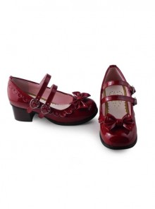 Wine red mirror princess Lolita lovely bow heels