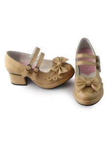 Beige Matt Princess Lolita high heel shoes with cute bows