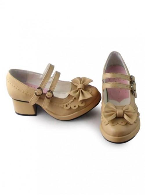 Beige Matt Princess Lolita high heel shoes with cute bows