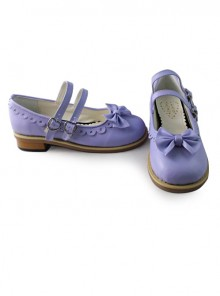 Lolita princess low heels with cute purple bow