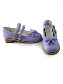 Lolita princess low heels with cute purple bow
