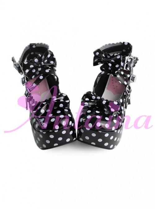 Black Bottom White Wave Point High Heel Bowknot Lolita Princess Shoes