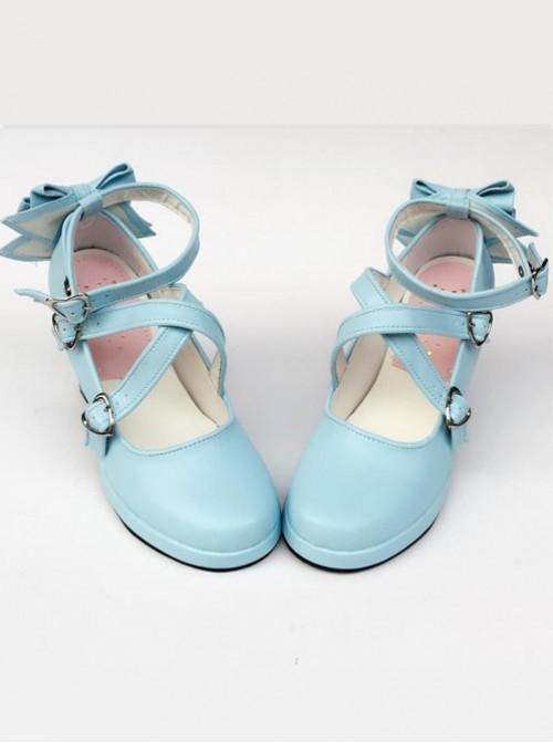 Blue Matt Cross Bandage High Heel Bowknot Lolita Princess Shoes