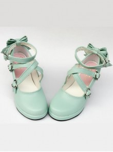 Mint Color Matt Cross Bandage High Heel Bowknot Lolita Princess Shoes