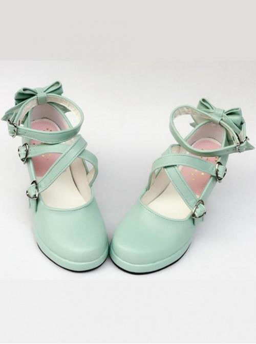 Mint Color Matt Cross Bandage High Heel Bowknot Lolita Princess Shoes