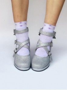 Silver Tiny Flicker Cross Bandage High Heel Bowknot Lolita Princess Shoes
