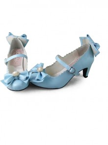 Blue Bowknot Sweet Lolita Lovely Bride High Heel Shoes