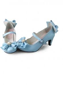 Blue Bowknot Sweet Lolita Lovely Bride High Heel Shoes