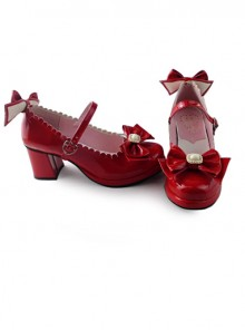 Red Mirror Face Bowknot Sweet Lolita Lovely Bride High Heel Shoes