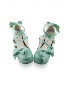 Mint Color Mirror Face Bowknot Sweet Lolita Lovely Doll High Heel Shoes
