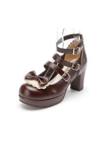 Chocolate Color Lace Bowknot Sweet Lolita Cute Girls High Heel Shoes