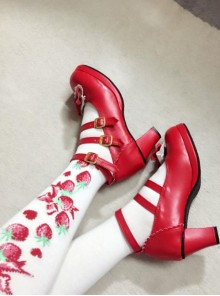 Cute Girls Red Matte Bowknot Clip Sweet Lolita High Heel Shoes