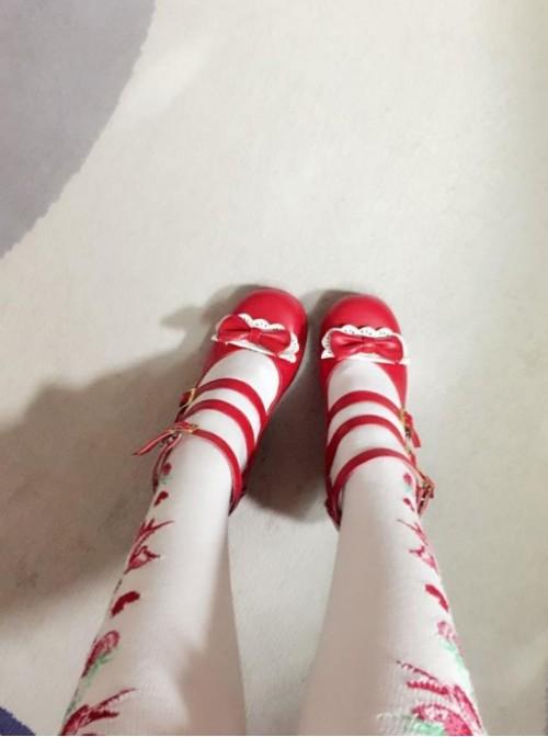 Cute Girls Red Matte Bowknot Clip Sweet Lolita High Heel Shoes