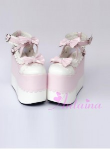 White Lace Pink Bowknot Super High Heel Lolita Platform Shoes