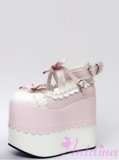White Lace Pink Bowknot Super High Heel Lolita Platform Shoes