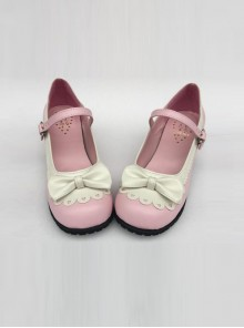 Sweet Lace Bowknot Pink Matte Lolita High Heel Shoes