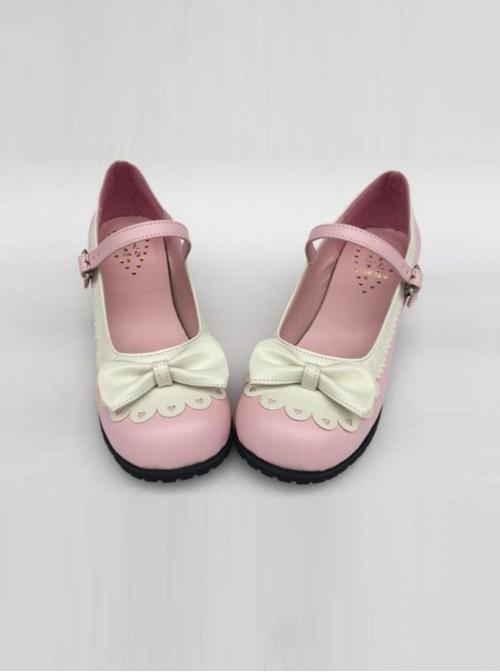 Sweet Lace Bowknot Pink Matte Lolita High Heel Shoes