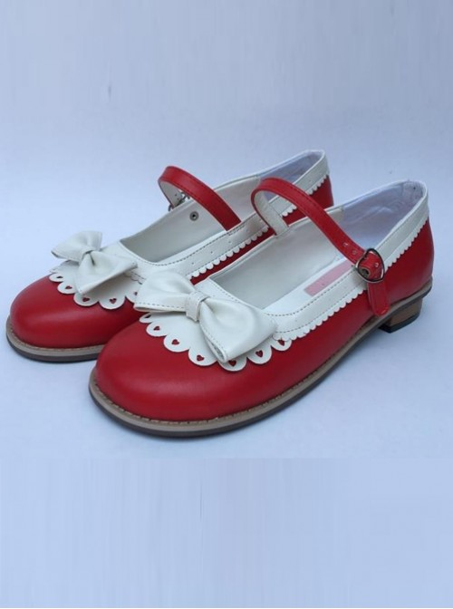 Sweet Lace Bowknot Wine Red And White Lolita High Heel Shoes