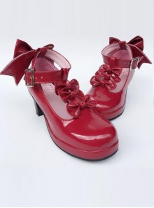 Wine Red Bowknot T-shaped Belt Sweet Lolita High Heel Shoes