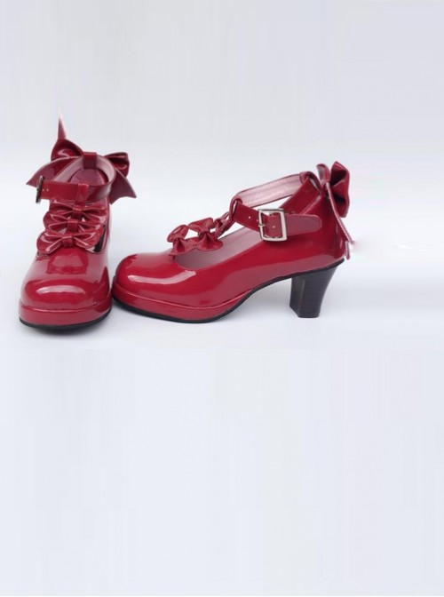 Wine Red Bowknot T-shaped Belt Sweet Lolita High Heel Shoes