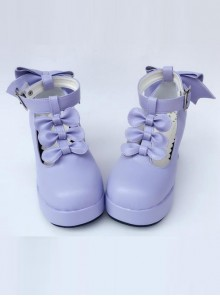 Purple Matte Bowknot T-shaped Belt Sweet Lolita High Heel Shoes