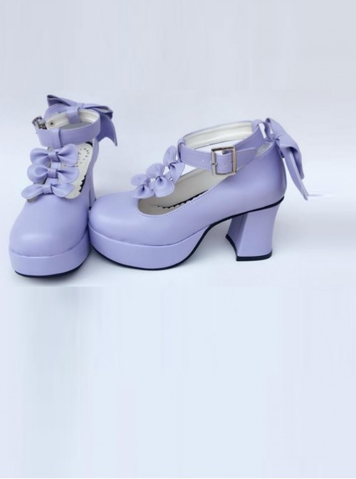Purple Matte Bowknot T-shaped Belt Sweet Lolita High Heel Shoes