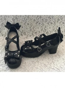 Black Bowknot The Mermaid Princess Sweet Lolita High Heel Shoes