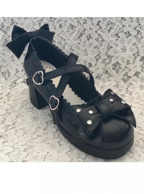 Black Bowknot The Mermaid Princess Sweet Lolita High Heel Shoes