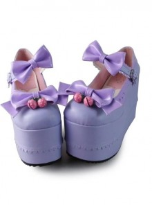 Purple Bowknot Mirror Face Strawberry Bell Super High Heel Lolita Platform Shoes