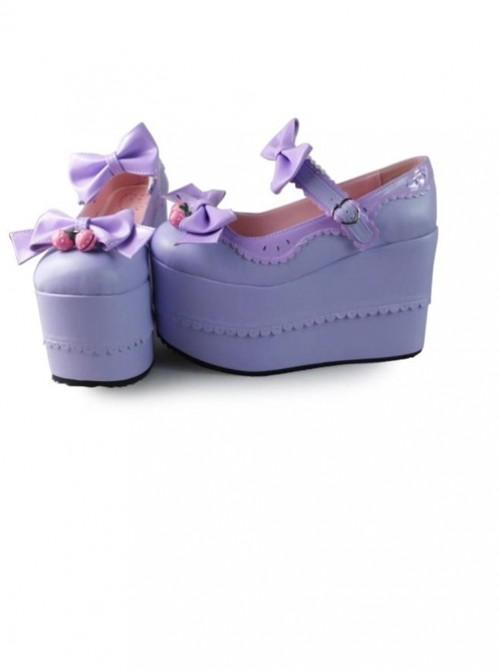 Purple Bowknot Mirror Face Strawberry Bell Super High Heel Lolita Platform Shoes