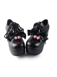 Black Bowknot Mirror Face Strawberry Bell Lolita Lace-up Platform Shoes