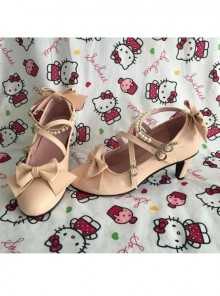 Pearl Strand Pink Bowknot Matte Lolita High Heel Shoes