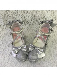 Pearl Strand Silver Flash Bowknot Matte Lolita High Heel Shoes