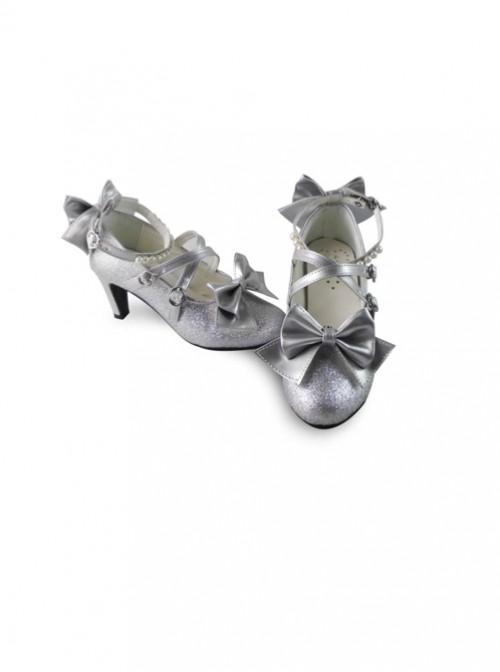 Pearl Strand Silver Flash Bowknot Matte Lolita High Heel Shoes