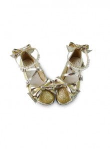 Pearl Strand Gold Flash Bowknot Matte Lolita High Heel Shoes