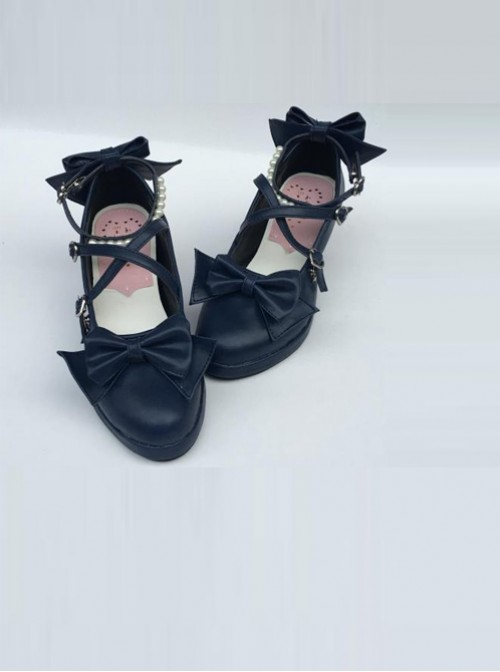 Pearl Strand Navy Blue Bowknot Matte Lolita High Heel Shoes