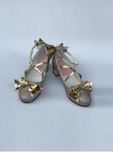 Pearl Strand Pale Gold Bowknot Lolita High Heel Shoes