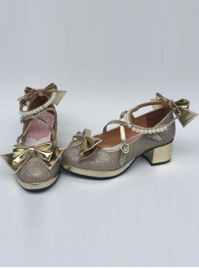 Pearl Strand Gold Bowknot Lolita High Heel Shoes