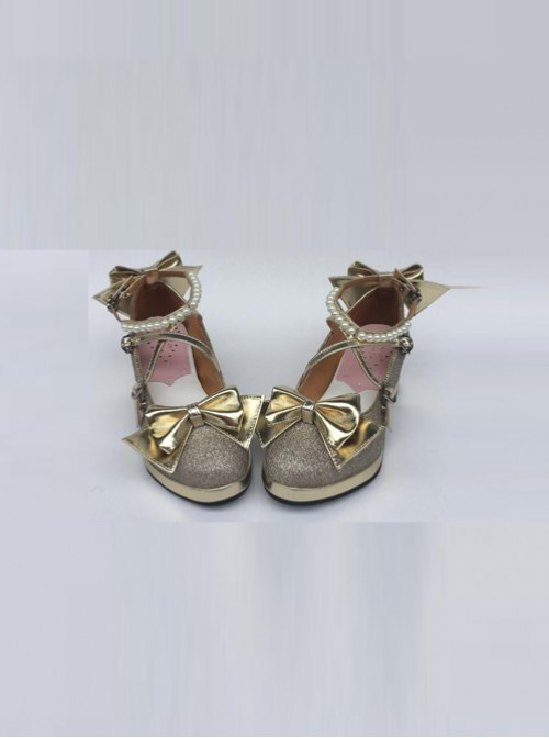 Pearl Strand Gold Bowknot Lolita High Heel Shoes