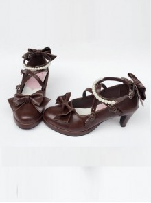 Pearl Strand Chocolate Color Bowknot Lolita High Heel Shoes